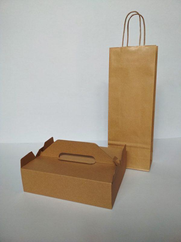 Výslužkový krabička a taška na víno