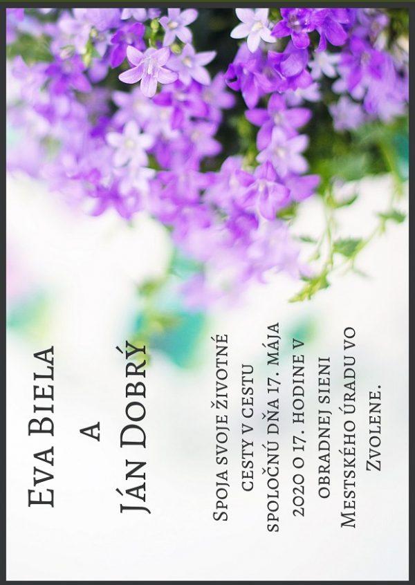 fialové kvety oznámenie