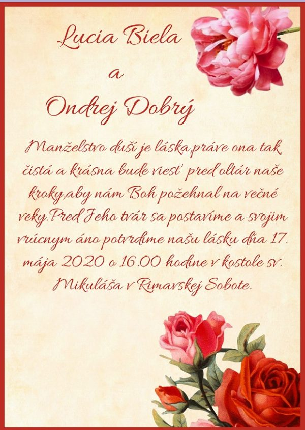 Oznámenie červené ruže