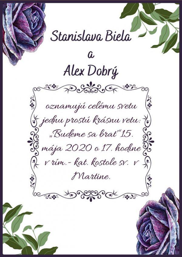 Oznámenie fialová ruža
