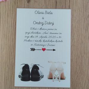 Oznámenie svadobné topánky