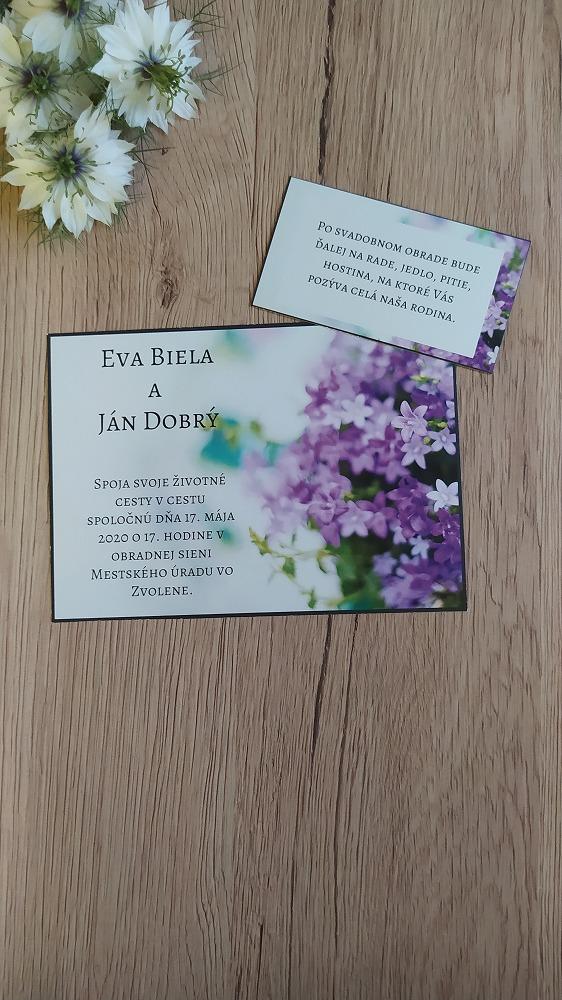 Pozvanie k svadobnému stolu - Fialové kvety