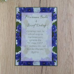 Oznámenie modrý kvet a zeleň