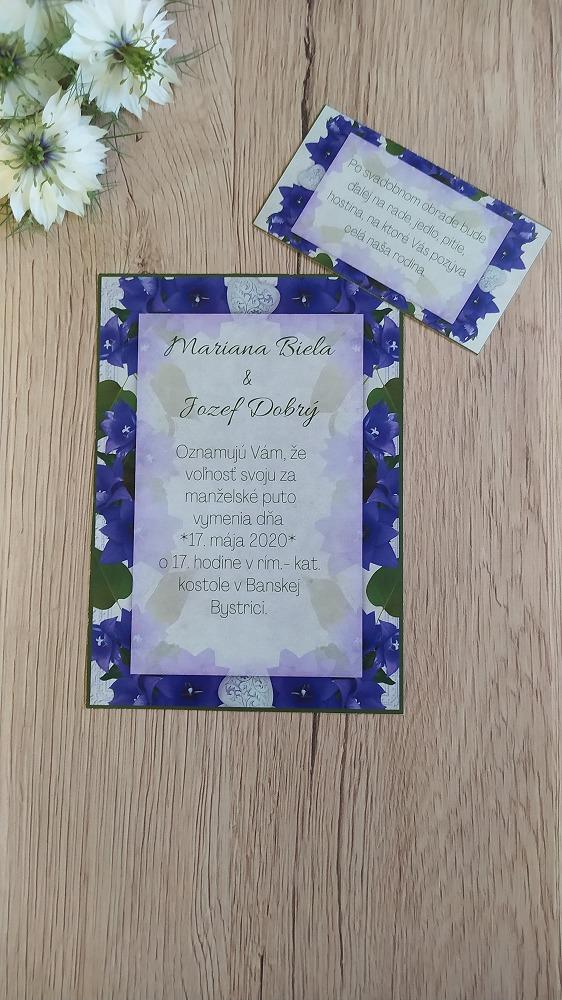 Oznámenie – Modro fialové kvety