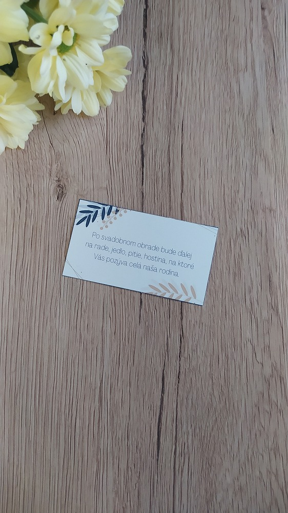 Pozvanie k svadobnému stolu List modrá